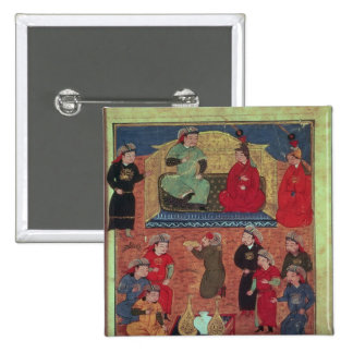 Frau Supp. Pers.Arghan Khan mit zwei von seinem Quadratischer Button 5,1 Cm
