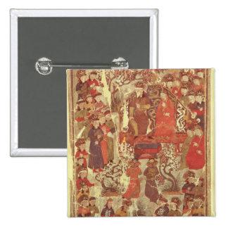 Frau Supp. Pers.Genghis Khan und seine Ehefrau Quadratischer Button 5,1 Cm