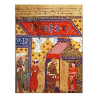 Frau Supp. Pers.Pavilion Zelte aufgerichtet durch Postkarte