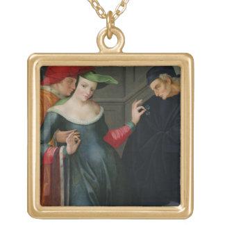 Frau zwischen zwei Alter Halskette Mit Quadratischem Anhänger