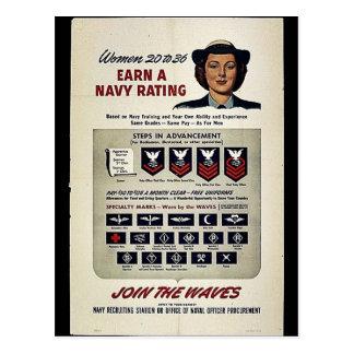 Frauen 20 bis 6 erwerben eine Marine-Bewertung Postkarte