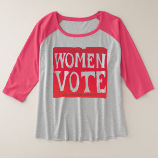 Frauen-Abstimmung - hartnäckiges Rosa Große Größe Raglan T-Shirt