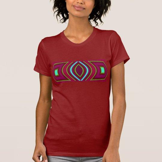 Frauen des Mode-Shirt-4 auf Moosbeere, Rot, blau T-Shirt