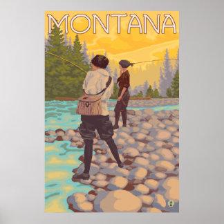 Frauen fliegen Fischen - Montana Poster