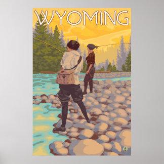 Frauen fliegen Fischen - Wyoming Poster