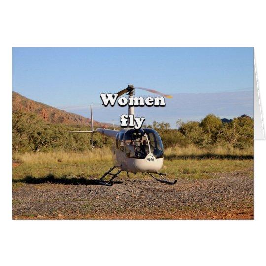 Frauen fliegen: Hubschrauber (weiße) 2 Grußkarte