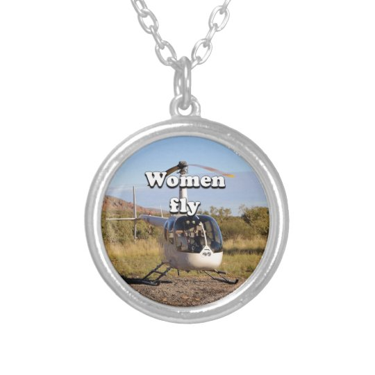 Frauen fliegen: Hubschrauber (weiße) 2 Halskette Mit Rundem Anhänger