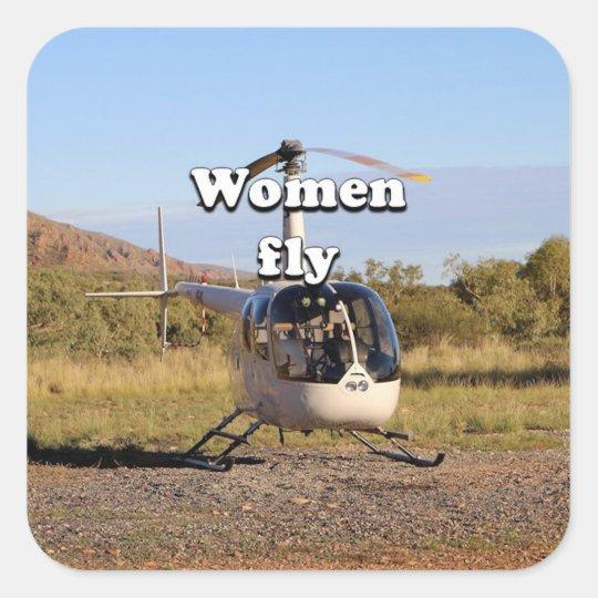 Frauen fliegen: Hubschrauber (weiße) 2 Quadratischer Aufkleber