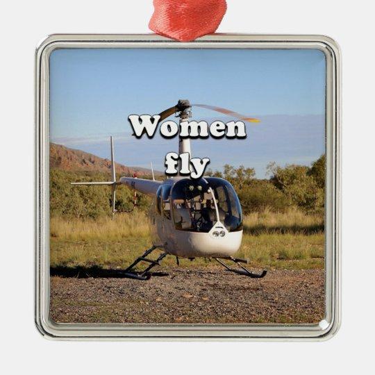 Frauen fliegen: Hubschrauber (weiße) 2 Quadratisches Silberfarbenes Ornament