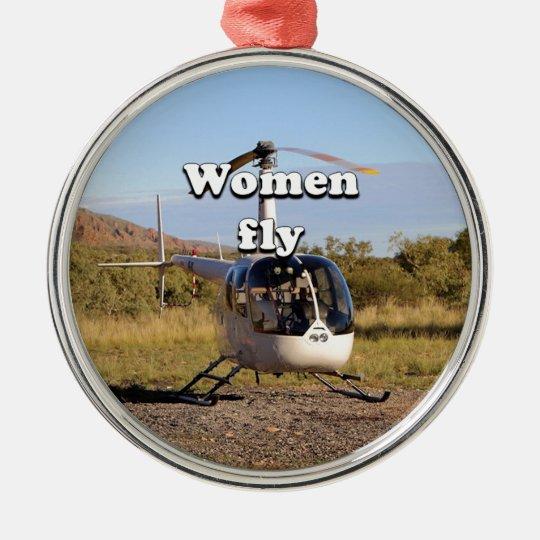 Frauen fliegen: Hubschrauber (weiße) 2 Rundes Silberfarbenes Ornament