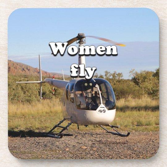 Frauen fliegen: Hubschrauber (weiße) 2 Untersetzer