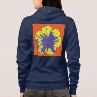 Frauen gelb/blaue Blume Reißverschluss zugemachter Hoodie