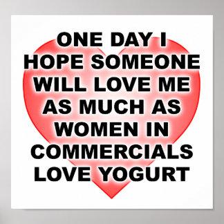 Frauen-Liebe-Jogurt-lustiges Plakat