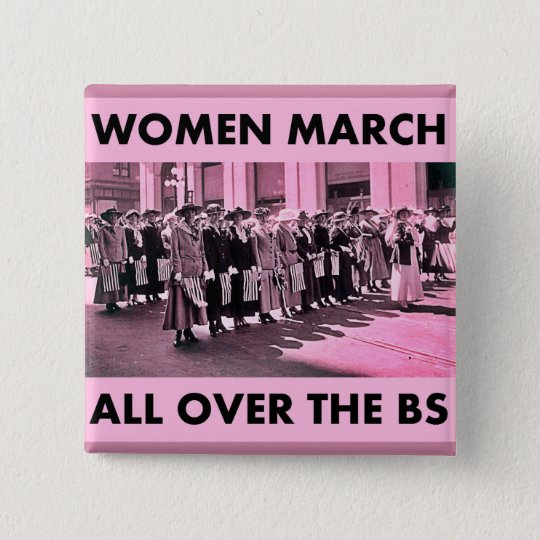 Frauen-März ganz über den BS 2 Zoll-Quadrat-Knopf Quadratischer Button 5,1 Cm