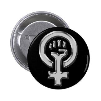 Frauen-Power-Chromknopf Runder Button 5,7 Cm