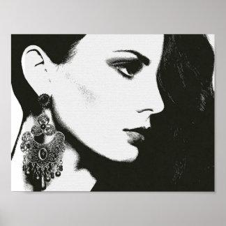 Frauen-Schwarz-weißes Leinwand-Skizze-Zeichnen Poster
