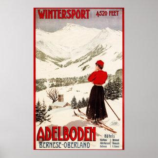 Frauen-Skifahrer, der Adelboden-Plakat übersieht Poster