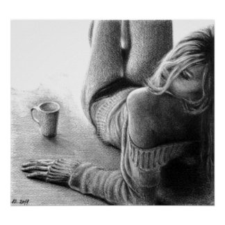 Frauen-und Morgenkaffee Graphitplakatdruck Poster