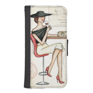 Frauen-und Wein-Glas iPhone SE/5/5s Geldbeutel