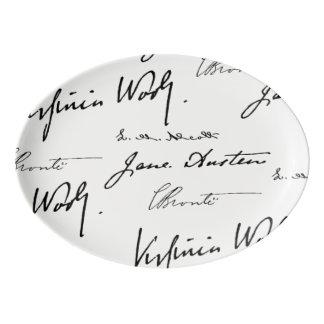 Frauen-Verfasser Porzellan Servierplatte
