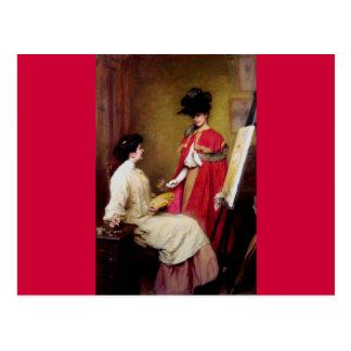 Frauenmalen des Maler-Studio-zwei Postkarte