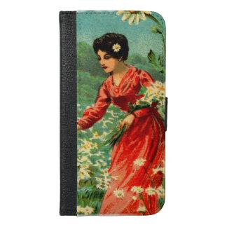Frauensammeln-Blumen iPhone 6/6s Plus Geldbeutel Hülle