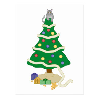 Freche Weihnachtsbaum-Miezekatze-Katze Postkarte