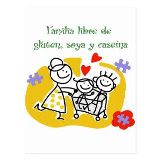 Freie Familie von Gluten, Soya und Caseina, Postkarte