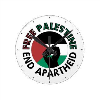 Freie Palästina-Enden-Apartheids-Palästina-Flagge Runde Wanduhr