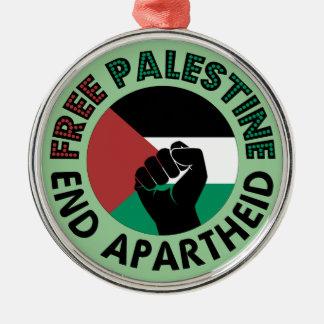 Freie Palästina-Enden-Apartheids-Palästina-Flagge Rundes Silberfarbenes Ornament