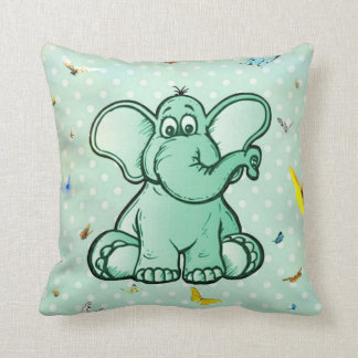 Freier Elefant und Schmetterlinge Kissen