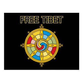 Freies Tibet Dharmacakra Postkarte