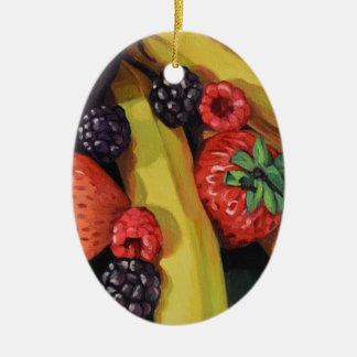 Freigebige Früchte Ovales Keramik Ornament