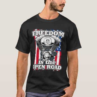 Freiheit ist die offenen Straßen-Flagge-Radfahrer T-Shirt