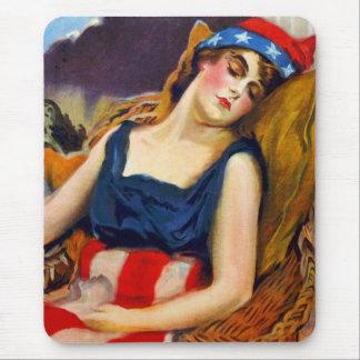 Freiheit schläft Amerika USA Vintager Retro Kitsch Mousepad