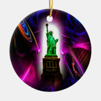 Freiheitsstatue  New York 2 Rundes Keramik Ornament
