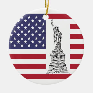 Freiheitsstatue u. Flagge-Verzierung Keramik Ornament