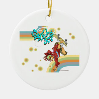 Freistil-Retro Skateboardfahrer Keramik Ornament