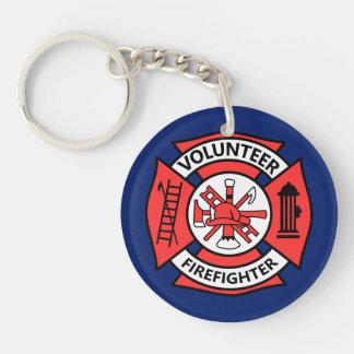 Freiwilliger Feuerwehrmann Beidseitiger Runder Acryl Schlüsselanhänger