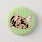 French Bulldog rose Runder Button 5,7 Cm