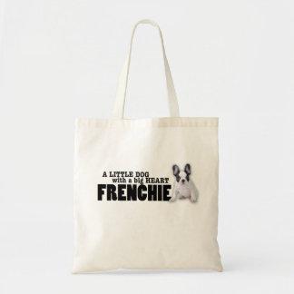 Frenchie Hund mit großem Herzen Budget Stoffbeutel