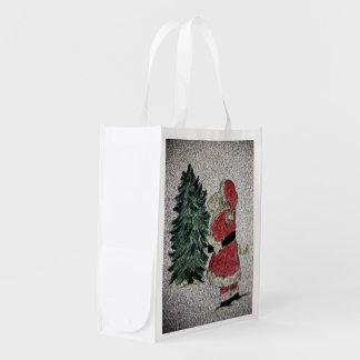 Fresque de Père Noël Sacs D'épicerie
