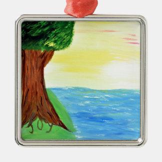 Freude-Baum Quadratisches Silberfarbenes Ornament