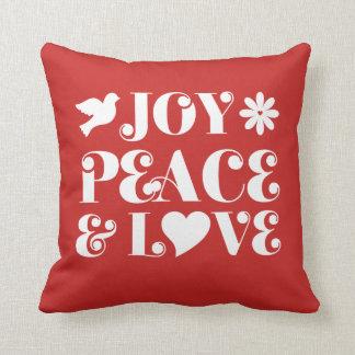 Freude-Friedens-und Liebe-Rot-Feiertage Kissen