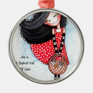Freude ist… Ein Korb voll der Katzen Rundes Silberfarbenes Ornament