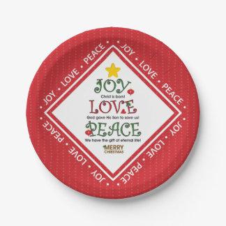 Freude-Liebe-Friedenschristliches Weihnachten Pappteller 17,8 Cm