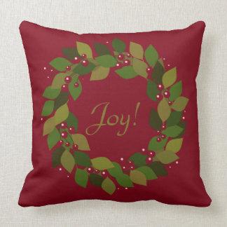 Freude! | rustikaler roter WeihnachtsKranz Kissen