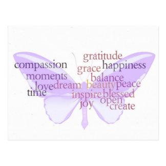 Freude-und Dankbarkeits-Schmetterlings-Postkarte Postkarte