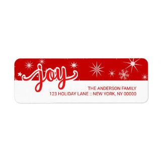 Freude-Weihnachtsrote Kleiner Adressaufkleber