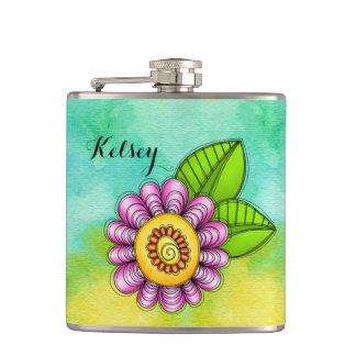 Freudewatercolor-Gekritzel-Blumen-Flasche Flachmann
